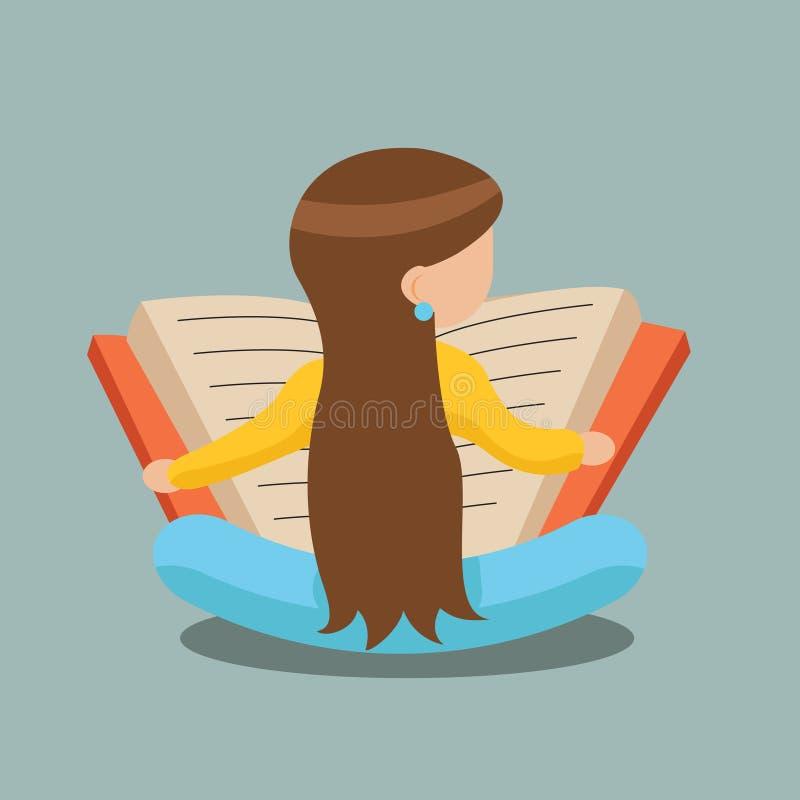 Livre de lecture de jeune fille se reposant sur le vecteur élégant de calibre de concept de construction de bande dessinée de sym illustration stock