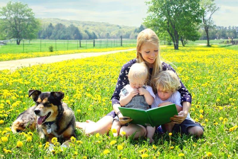 Livre de lecture de mère aux enfants dehors images stock