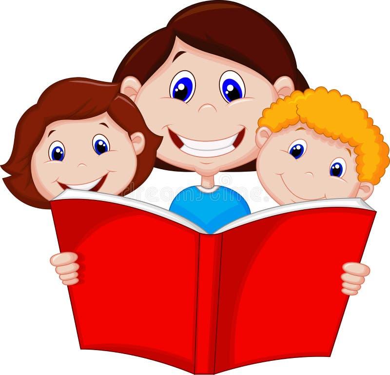 Livre de lecture de mère de bande dessinée à ses enfants illustration stock