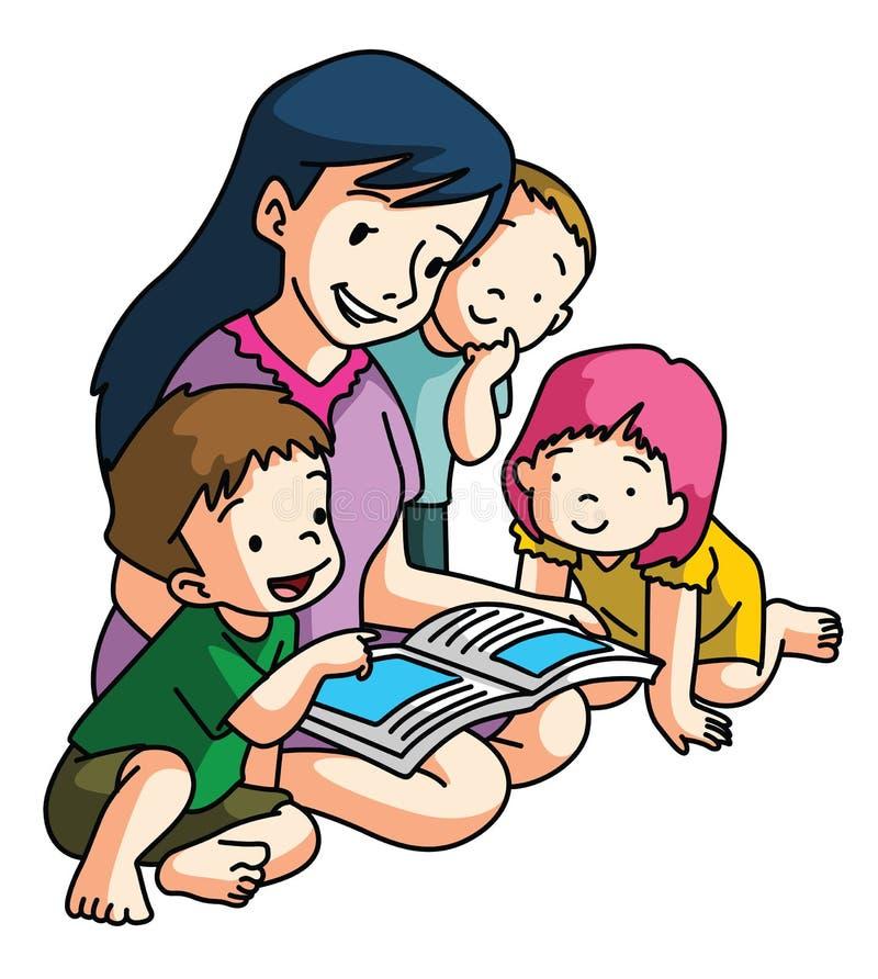 Livre de lecture de mère ensemble illustration stock