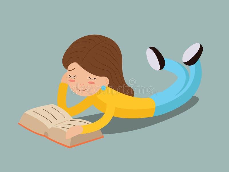 Livre de lecture de sourire heureux de jeune fille se trouvant sur le concept de construction d'isolement élégant de bande dessin illustration stock