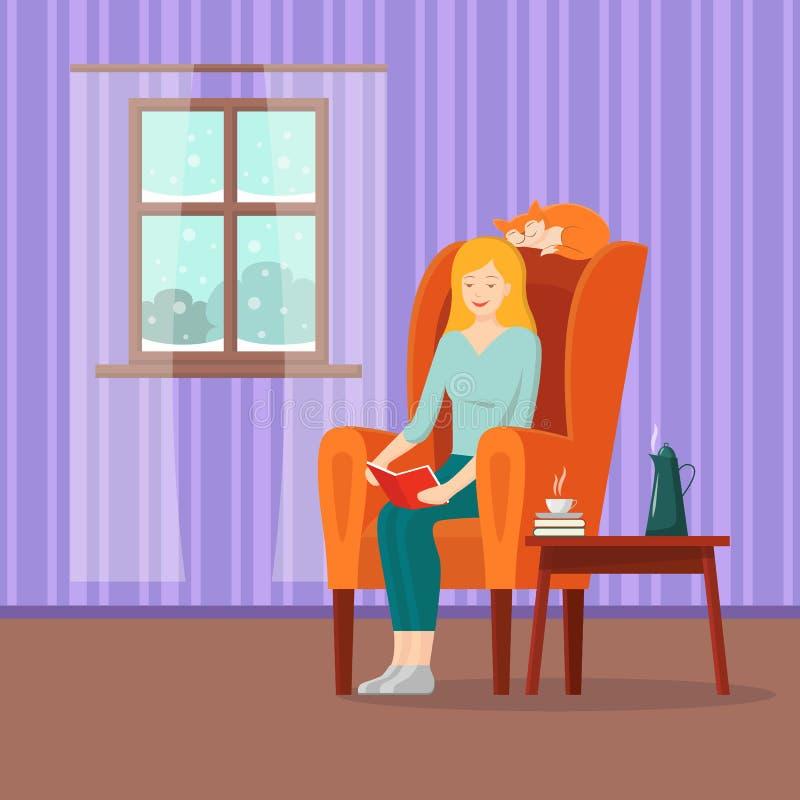 Livre de lecture de fille de bande dessinée de vecteur dans le fauteuil illustration libre de droits