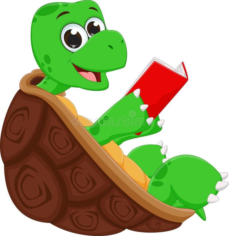 Livre de lecture heureux de bande dessinée de tortue illustration de vecteur
