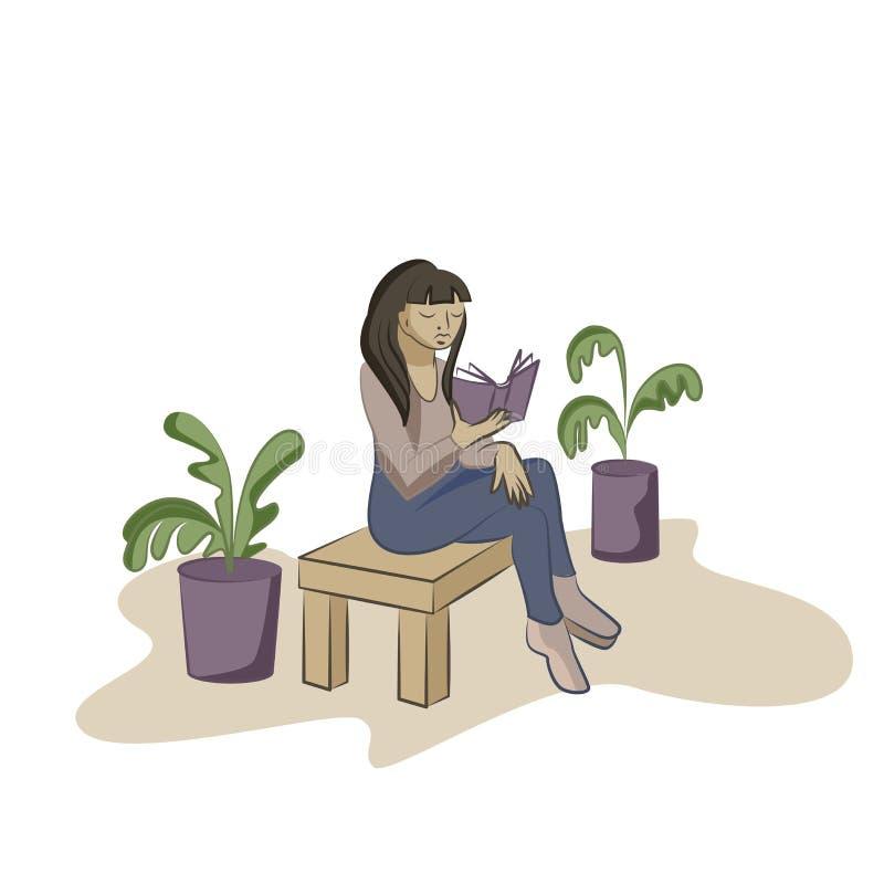 Livre de lecture de jeune femme sur la chaise dans un bureau illustration de vecteur