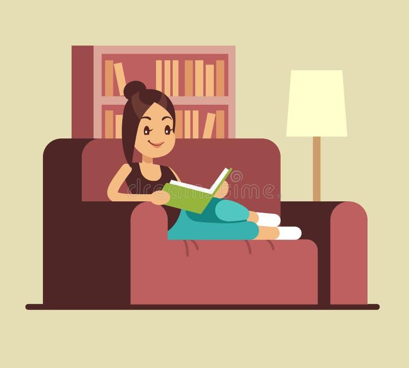 Livre de lecture de jeune femme sur le divan Détente à la maison du concept de vecteur illustration libre de droits