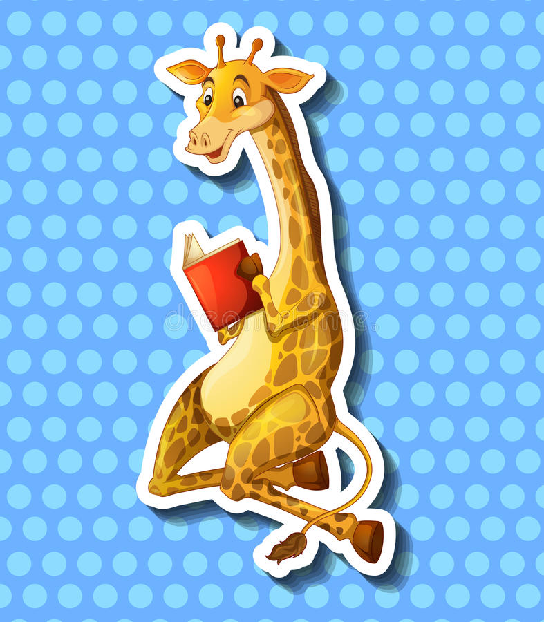 Livre de lecture mignon de girafe illustration libre de droits