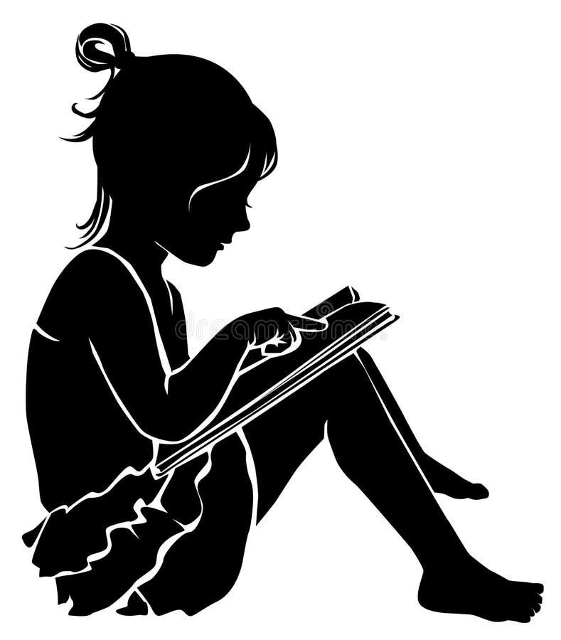 Livre de lecture mignon de petite fille de silhouette illustration stock