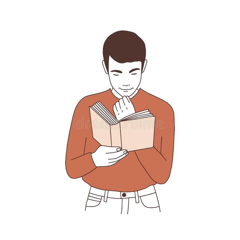 Livre de lecture réfléchi adorable de jeune homme ou préparation à l'examen Portrait d'étudiant ou de littérature songeur illustration stock