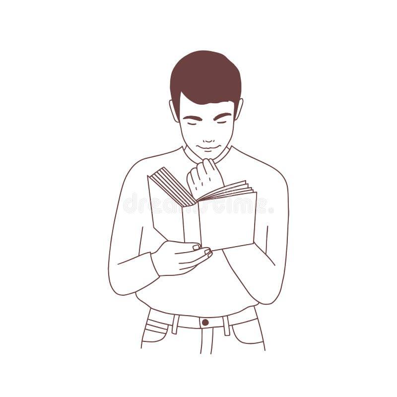 Livre de lecture songeur mignon de jeune homme ou préparation à l'examen Portrait de main de lecteur d'étudiant masculin ou de li illustration de vecteur