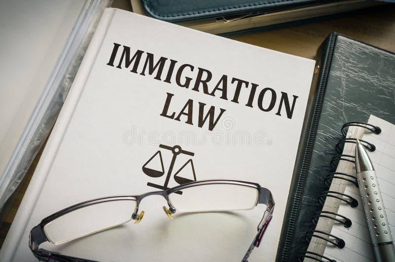 Livre de loi d'immigration Concept de législation et de justice image libre de droits