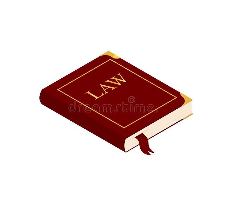 Livre de loi d'isolement sur le blanc illustration libre de droits