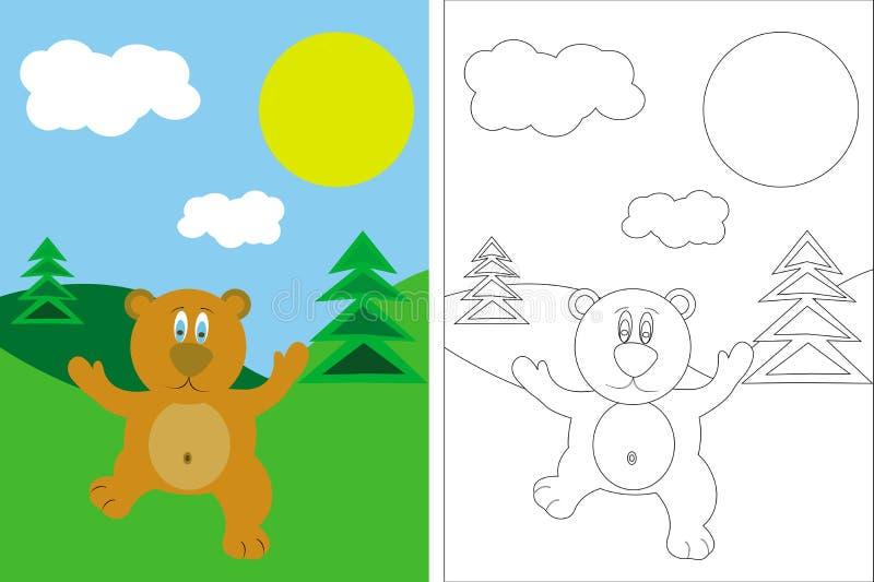 Livre de page de coloration avec l'ours et l'horizontal illustration de vecteur