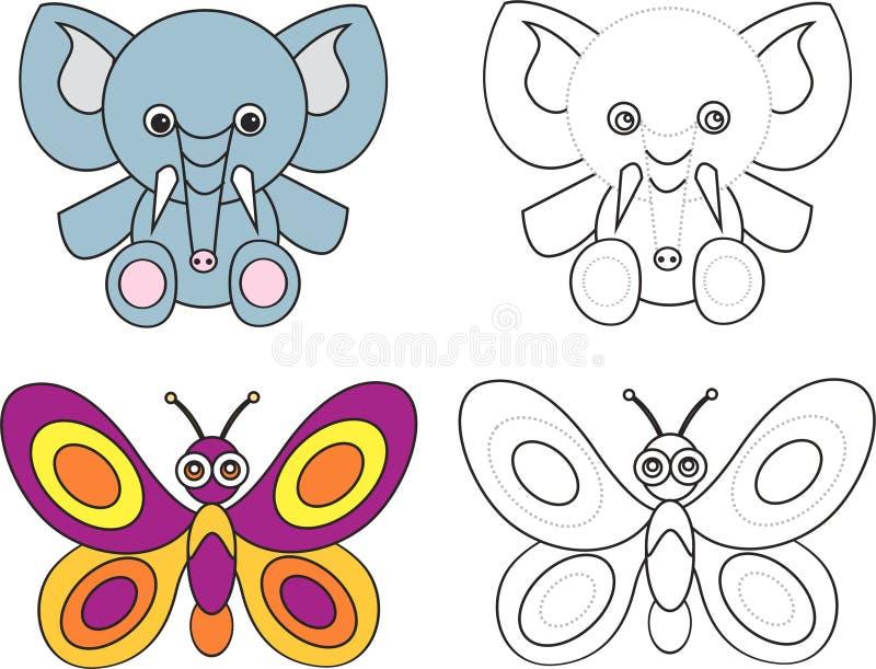 Livre de page de coloration pour des gosses - guindineau d'éléphant illustration libre de droits