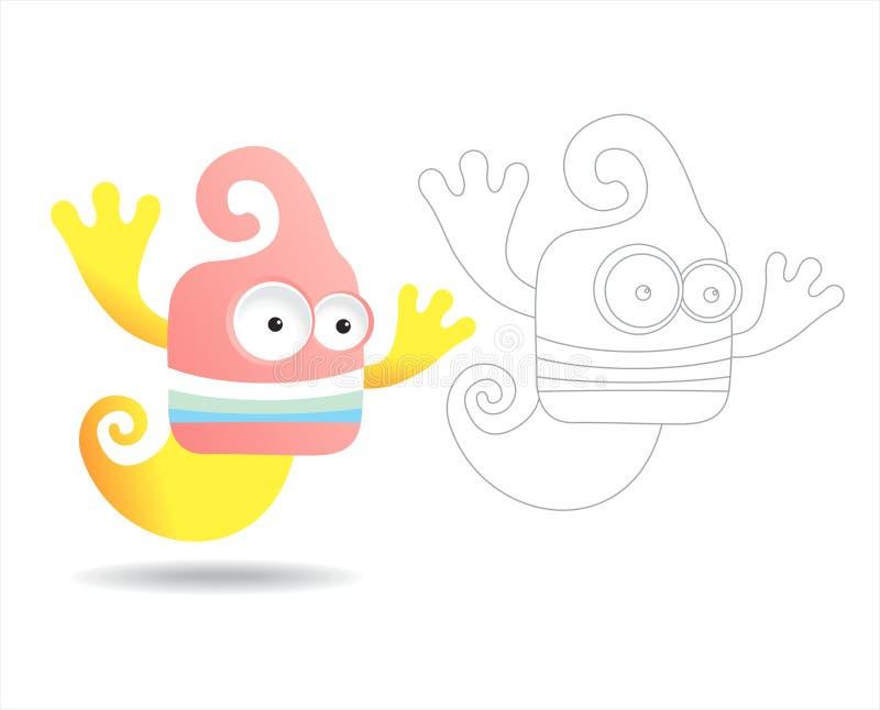 Livre de page de coloration pour des gosses - jolis monstres illustration libre de droits