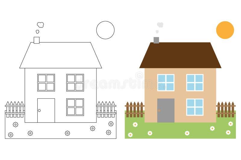 Livre de page de coloration pour des gosses - maison illustration stock