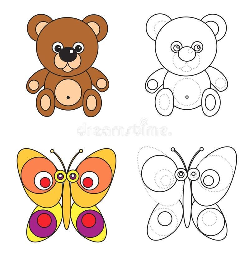Livre de page de coloration pour des gosses - ours et guindineau illustration libre de droits