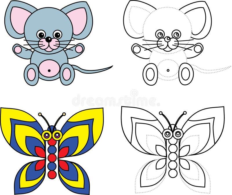 Livre de page de coloration pour des gosses - souris et guindineau illustration libre de droits