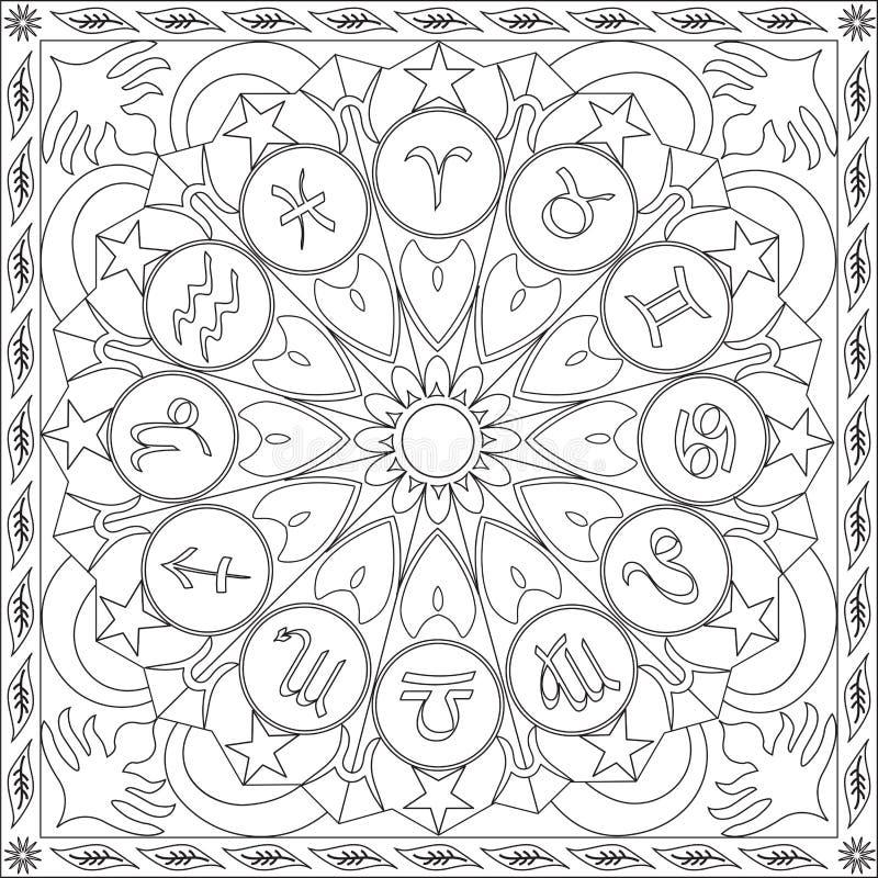 Livre de page de coloration pour la roue carrée Mandala Design Vector Illustration d'icônes de zodiaque de format d'adultes illustration stock