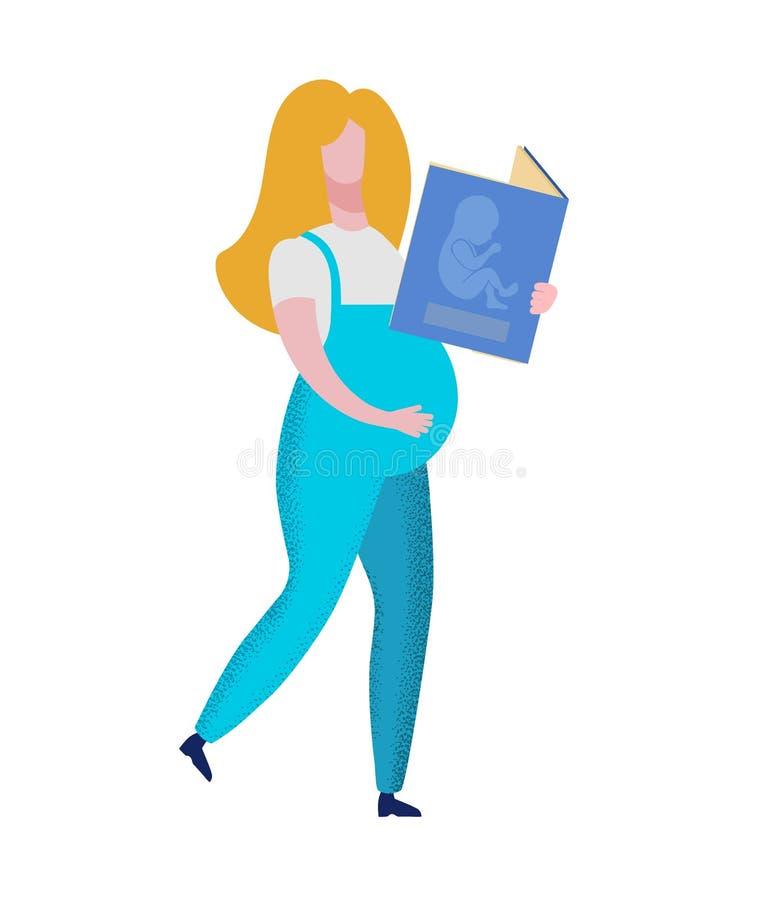Livre de participation de femme enceinte avec l'embryon de bébé illustration libre de droits