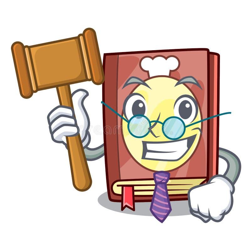 Livre de recette de juge sur l'étagère de mascotte illustration stock