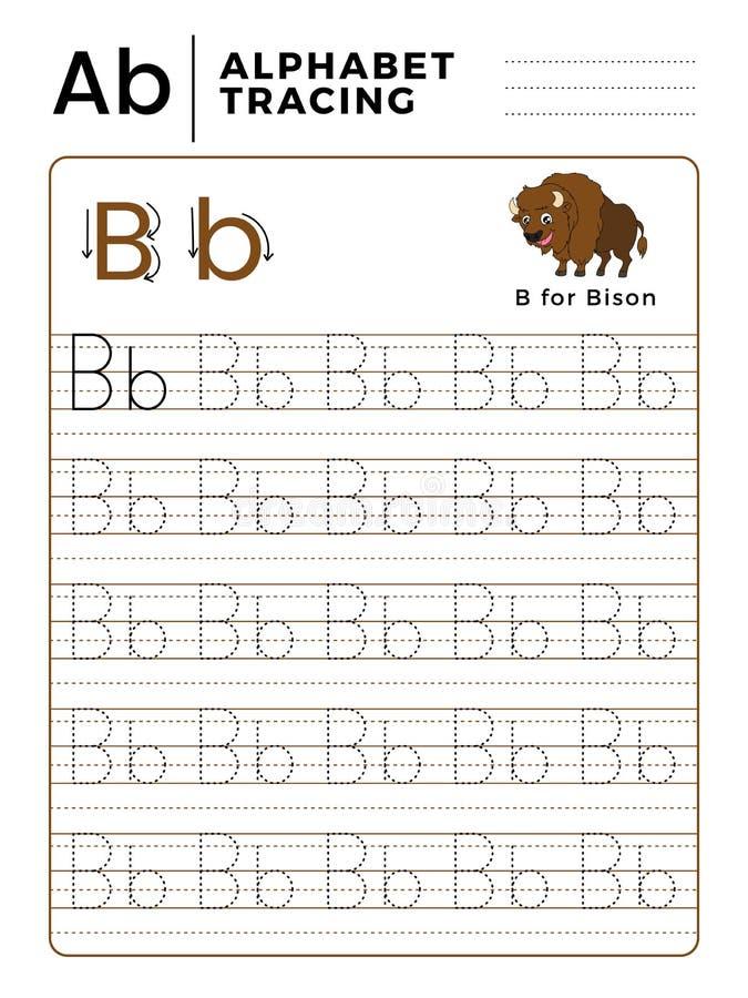 Livre de traçage d'alphabet de la lettre B avec l'exemple et le Bison Cartoon drôle Fiche de travail préscolaire pour pratiquer l illustration de vecteur