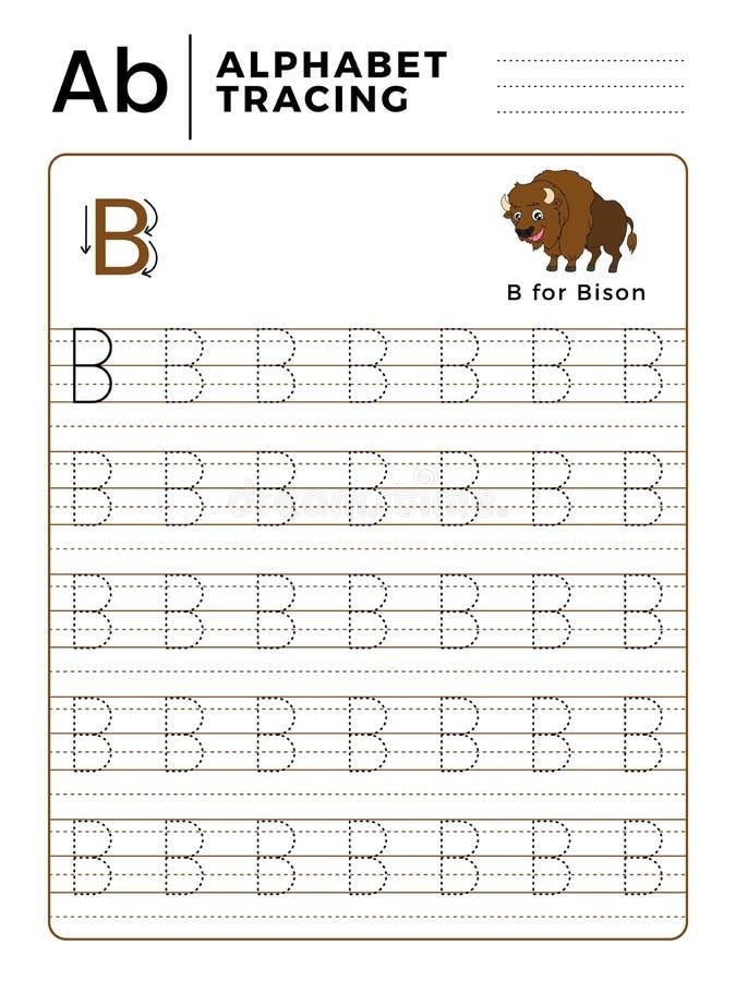 Livre de traçage d'alphabet de la lettre B avec l'exemple et le Bison Cartoon drôle Fiche de travail préscolaire pour pratiquer l illustration libre de droits