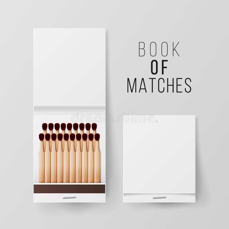 Livre de vecteur de matchs Blanc ouvert fermé de vue supérieure Videz faux haut Illustration réaliste illustration stock