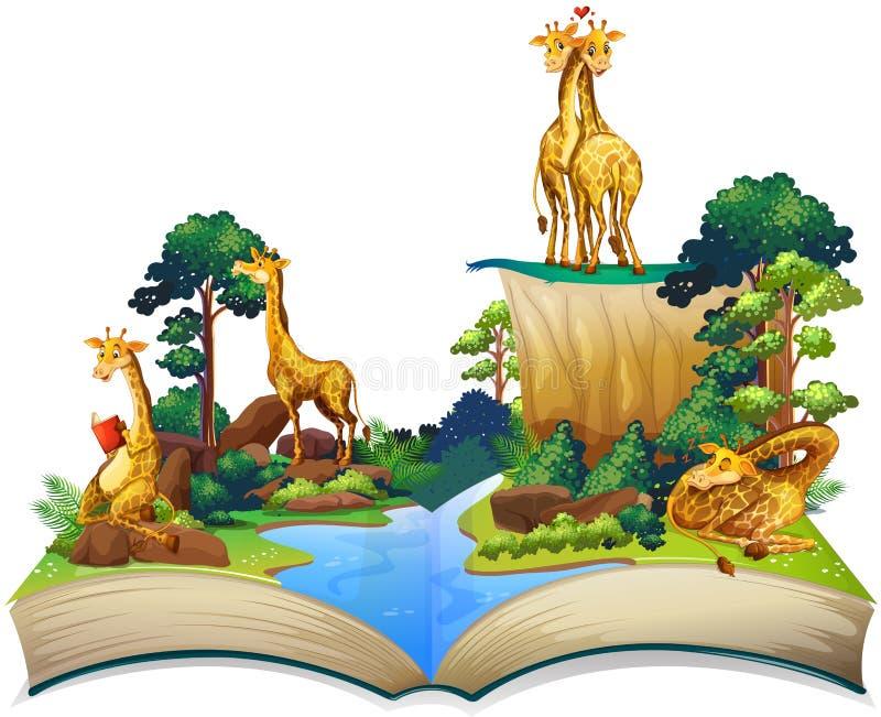 Livre des girafes vivant à côté de la rivière illustration de vecteur