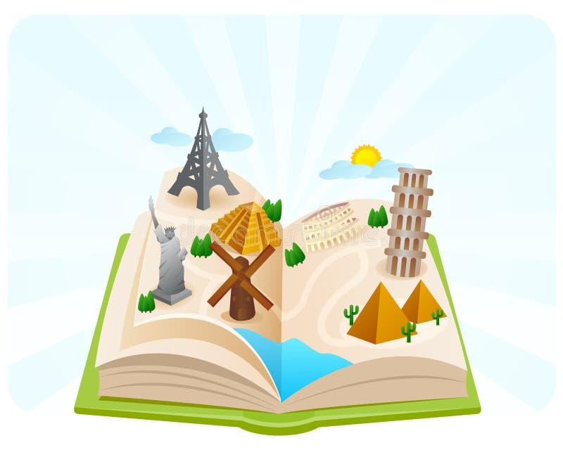 Livre des merveilles du monde illustration stock
