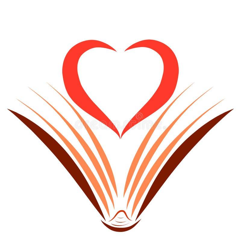Livre et cadre ouverts sous forme de coeur illustration libre de droits