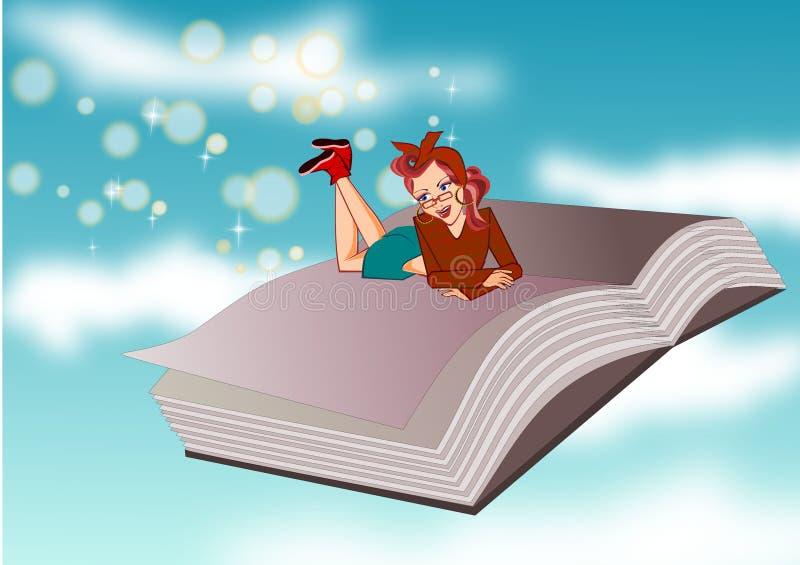 Livre et femme illustration stock
