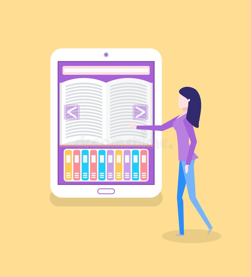 Livre et lecteur électroniques, lecture Ebook de femme illustration libre de droits