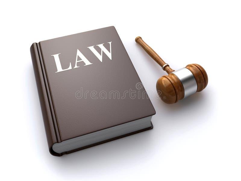 Livre et marteau de loi illustration stock