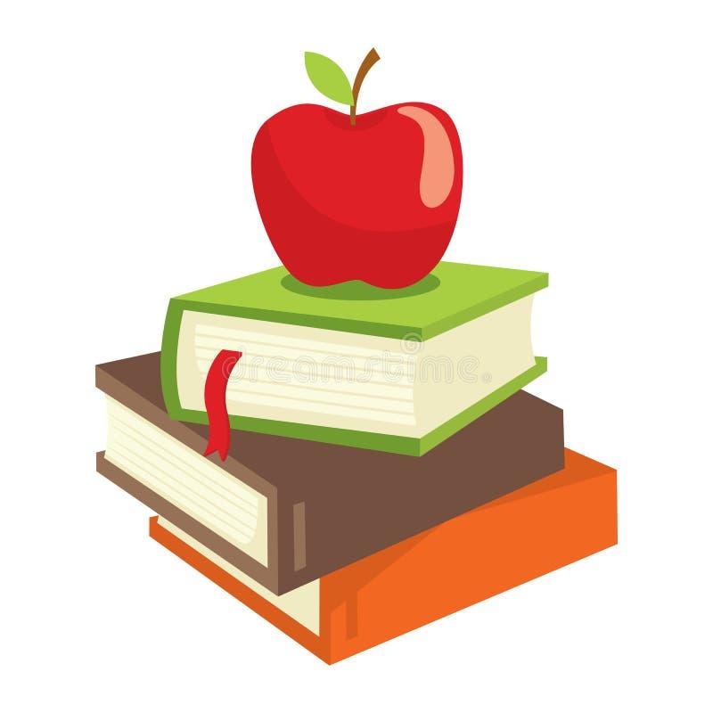Livre et pomme illustration de vecteur