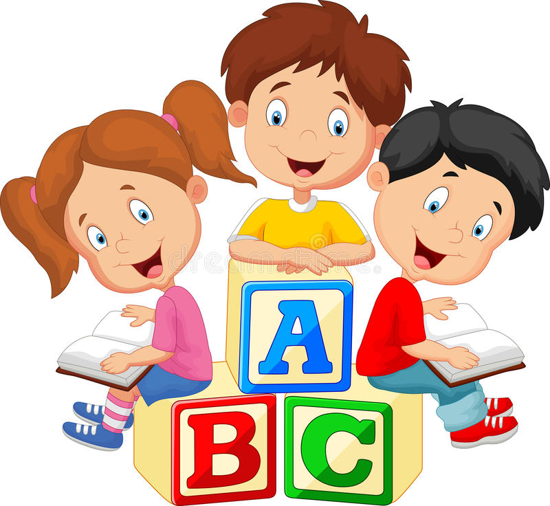 Livre et séance de lecture de bande dessinée d'enfants sur des blocs d'alphabet illustration de vecteur