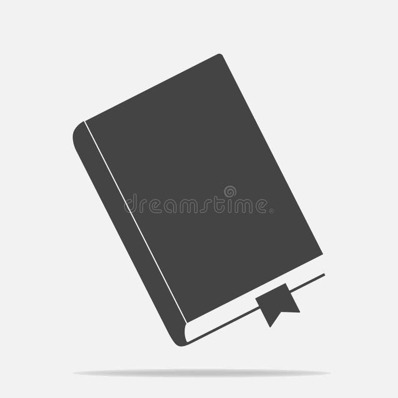Livre fermé d'icône de vecteur avec le repère Bloc-notes avec un repère illustration stock