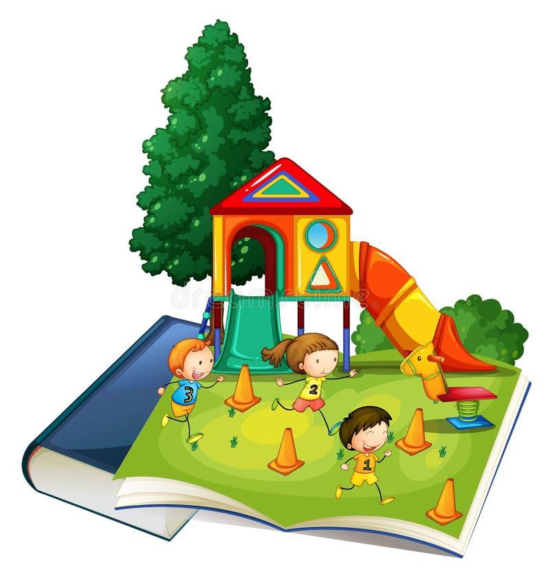 Livre géant avec des enfants jouant au terrain de jeu illustration stock