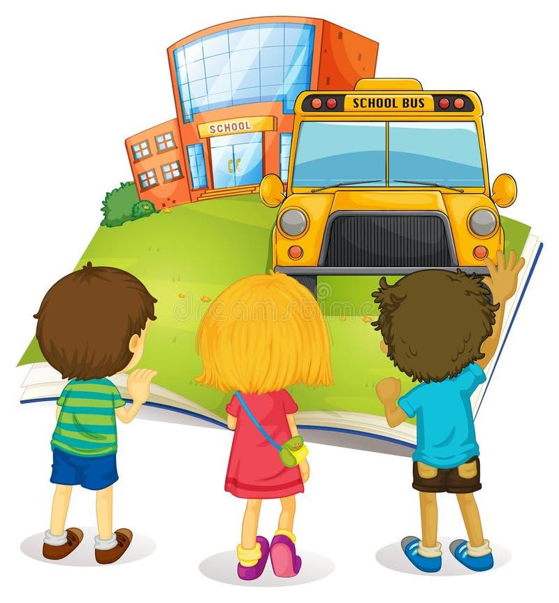Livre géant avec les enfants et l'école illustration libre de droits