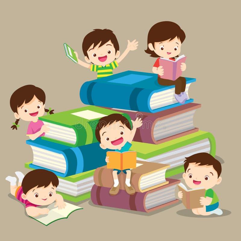 Livre garçon et de lecture mignons de fille illustration de vecteur