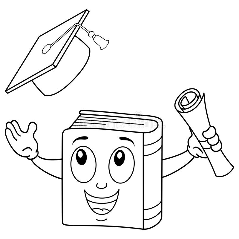 Livre heureux de coloration avec le chapeau d'obtention du diplôme illustration de vecteur