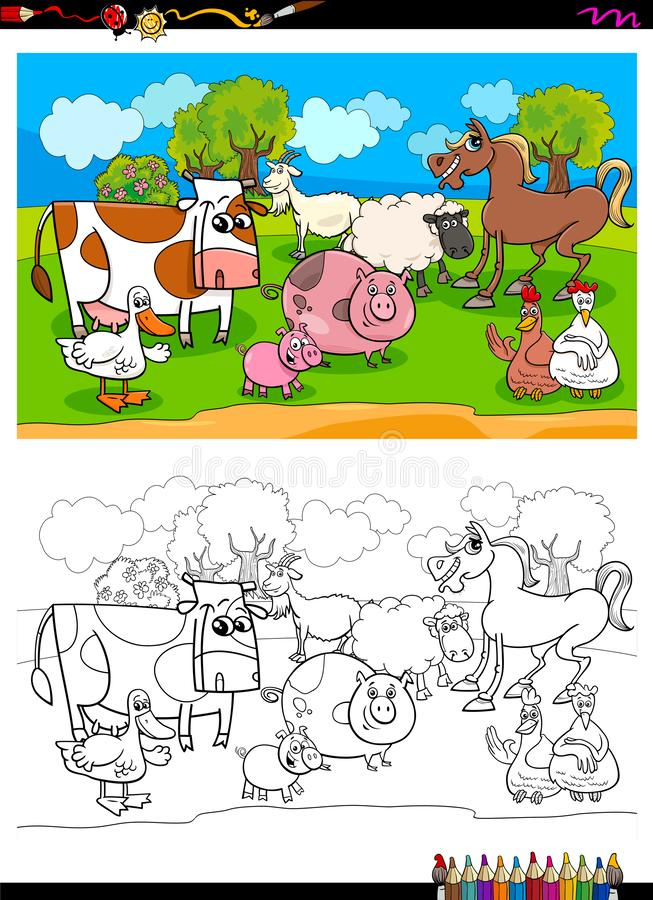 Livre heureux de couleur de groupe de caractères d'animal de ferme illustration de vecteur