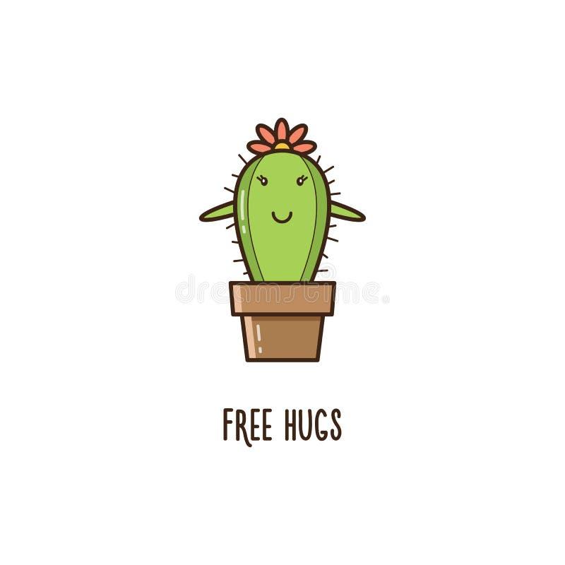 Livre hugs Cacto Ilustração do vetor ilustração stock