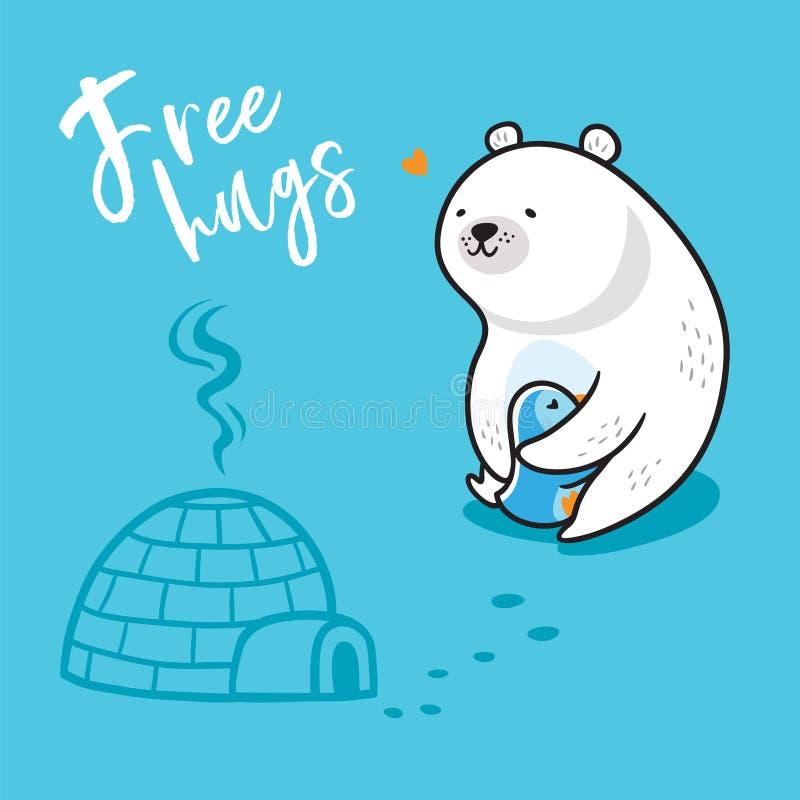 Livre hugs Ilustração do vetor de um pinguim engraçado do kawaii e de um aperto do urso polar ilustração do vetor