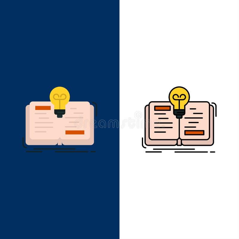 Livre, idée, roman, icônes d'histoire L'appartement et la ligne icône remplie ont placé le fond bleu de vecteur illustration libre de droits