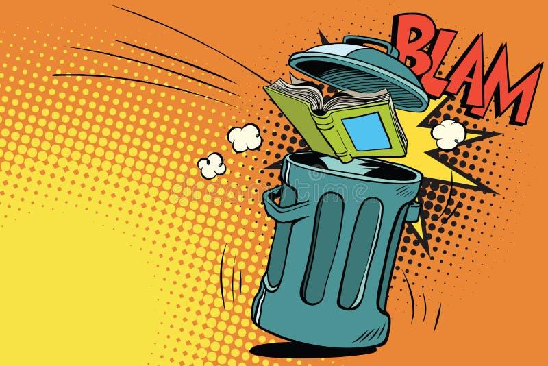 livre jeté dans les déchets illustration de vecteur