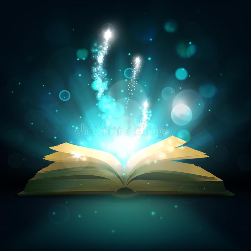 Livre magique ouvert, étincelles de lumière de vecteur illustration de vecteur