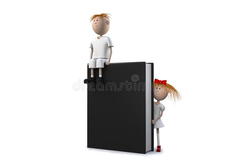 Livre noir avec des enfants photo stock