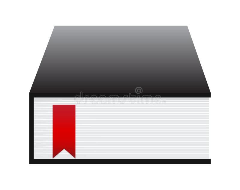 Livre noir avec la bande rouge illustration de vecteur