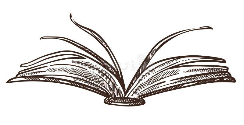 Livre ouvert avec des pages et le croquis monochrome de papier illustration de vecteur