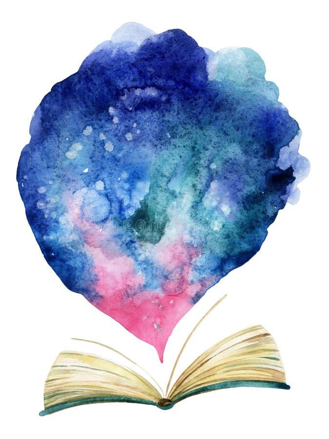 Livre ouvert d'aquarelle avec le nuage magique illustration de vecteur